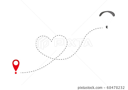 paraglider flies in heart form to the destination 68478232