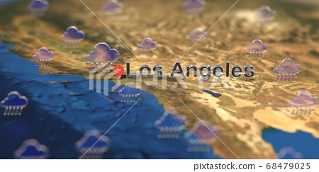Rainy weather icons near Los Angeles city on the map, weather forecast related 3D rendering 68479025