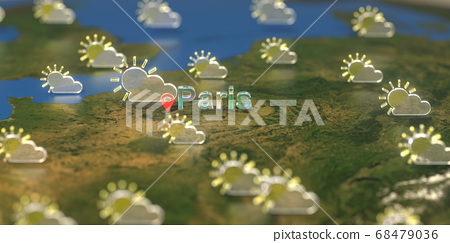 Partly cloudy weather icons near Paris city on the map, weather forecast related 3D rendering 68479036