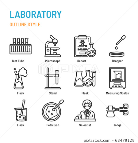 Laboratory in outline icon and symbol set 68479129