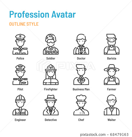 Profession avatar in outline icon and symbol set 68479163