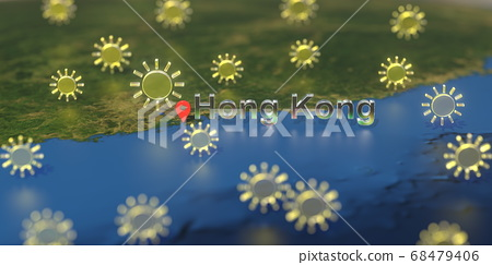 Sunny weather icons near Hong Kong city on the map, weather forecast related 3D rendering 68479406