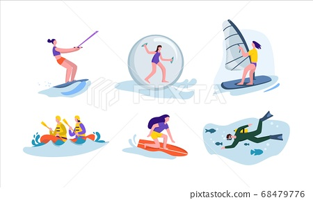 Active water sport set. Character rides on water board engages in extreme windsurfing diving fun. 68479776