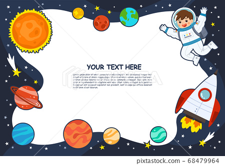 Astronaut in cosmos with spaceship stars and planets, spaceman in galaxy. Space scenes. Science Education concept. 68479964
