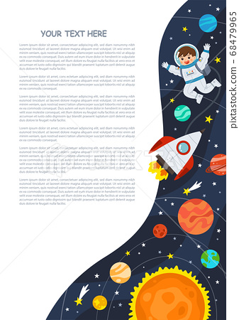 Astronaut in cosmos with spaceship stars and planets, spaceman in galaxy. Space scenes. Science Education concept. 68479965