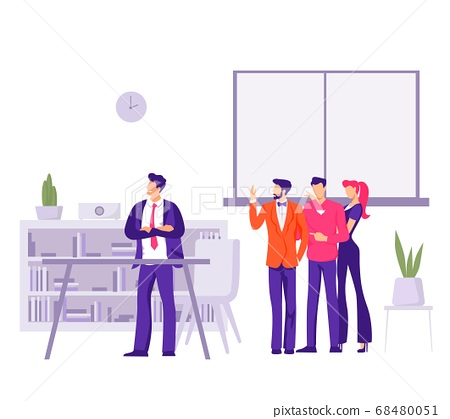 Conflict in office with angry employees Dissatisfied characters complain about boss to businessman. 68480051