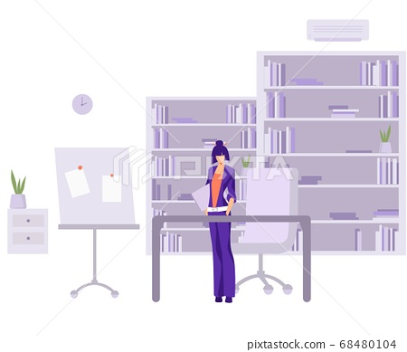 Accountant in work office. Female character in stylish purple suit reads financial statements in office modern style. 68480104