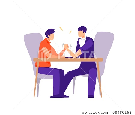 Business and career competition illustration. Conflict and confrontation on work colleagues. 68480162