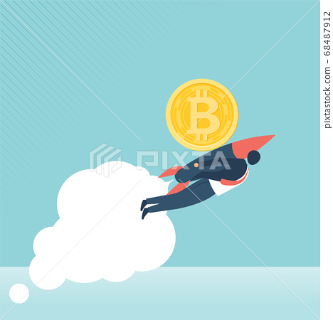 Financial growth concept with golden Bitcoins. up or down income graph with bitcoin vector design. 68487912