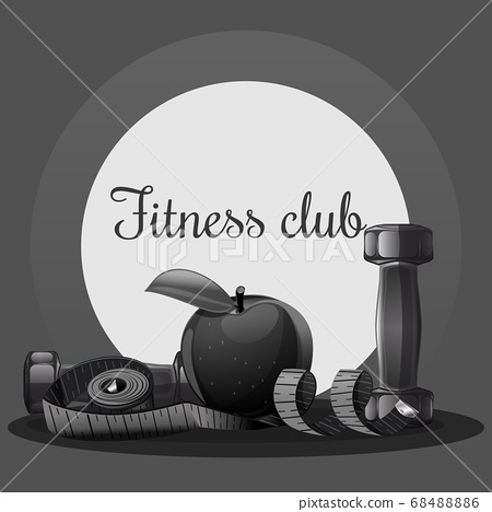 Fitness dumbbell card for sports club. Vector logo 68488886