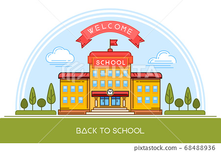 School building line logo design. Back to school 68488936