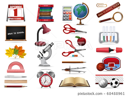 Realistic icons set on a school theme 68488961