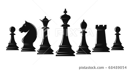 Set of black chess pieces. Vector illustration 68489054