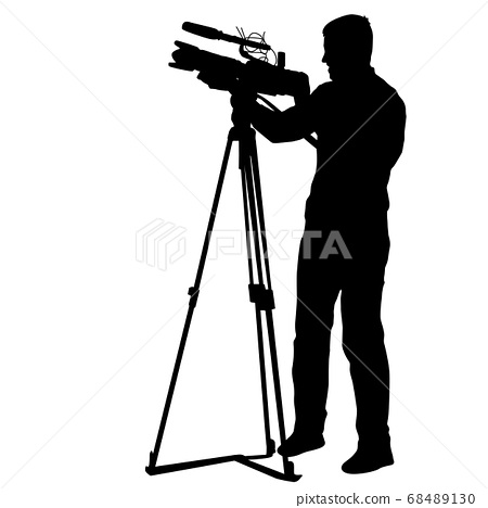 Cameraman with video camera. Silhouettes on white 68489130