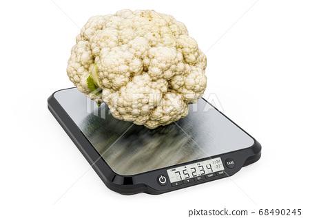 Kitchen Scales with Cauliflower. 3D rendering 68490245