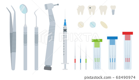 Illustration with dental tools and teeth with and without treatment vector illustration in a flat design. 68490974