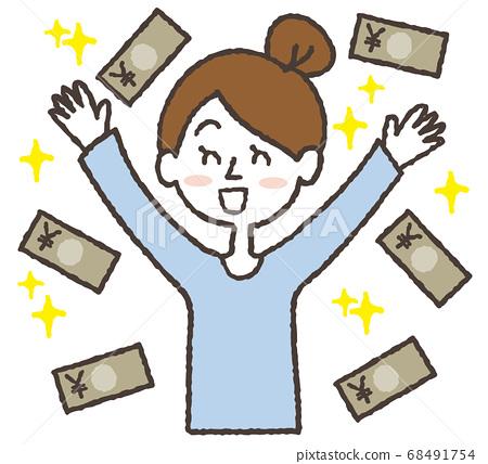 돈을 들고 환희하고있는 여성의 일러스트 68491754