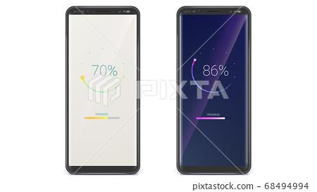 Smartphones with progress bar. UI screen of load 68494994
