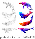 Set of Whale polygon geometric. Vector illustration. 68499419