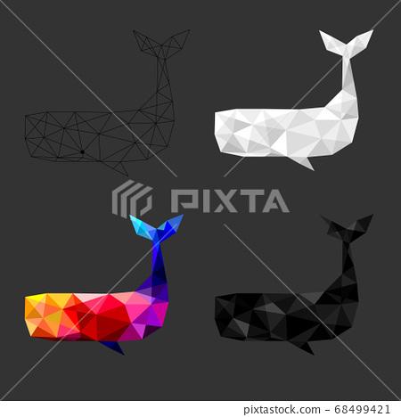 Set of Whale polygon geometric. Vector illustration. 68499421