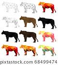 Set of lion polygon geometric. Vector illustration. 68499474