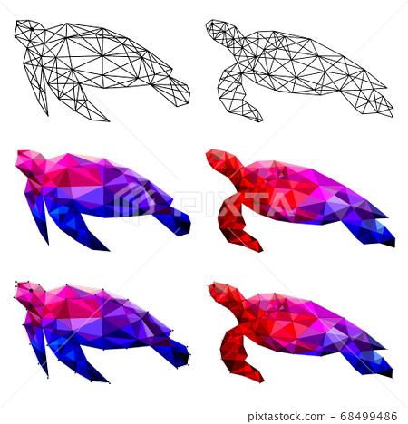Set of turtle polygon geometric. Vector illustration. 68499486