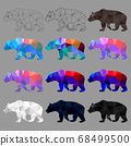 Set of bear polygon geometric. Vector illustration. 68499500