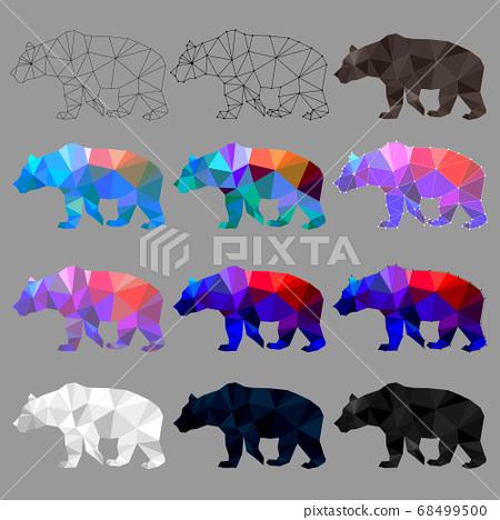Set of bear polygon geometric. Vector illustration. 68499500