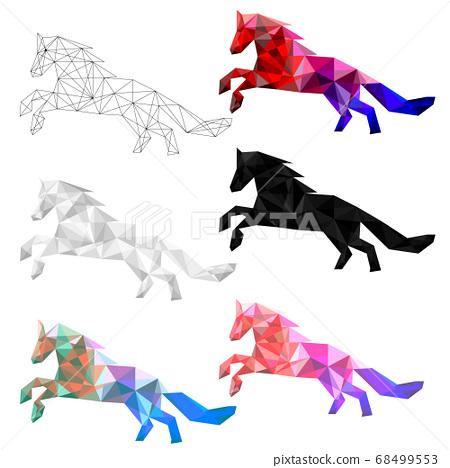Set of horse polygon geometric. Vector illustration. 68499553