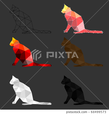 Set of cat polygon geometric. Vector illustration. 68499573