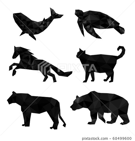 Set of polygon geometric animal. Vector illustration. 68499600