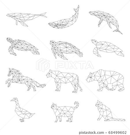 Set of polygon geometric animal. Vector illustration. 68499602
