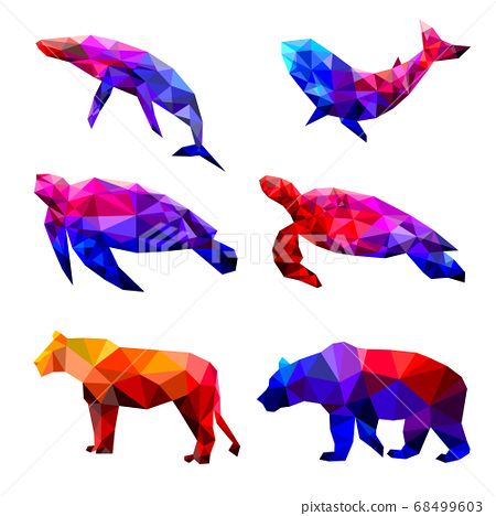 Set of polygon geometric animal. Vector illustration. 68499603