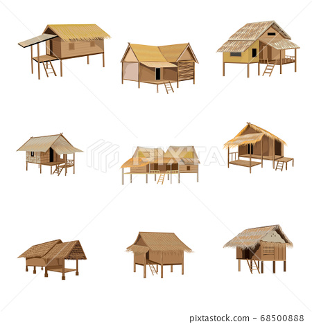 isolated straw hut on white background vector design 68500888