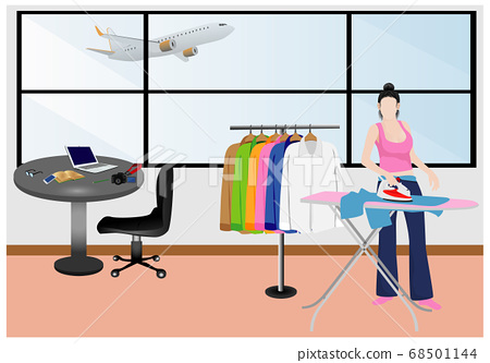 one woman pressing clothes in room vector design 68501144