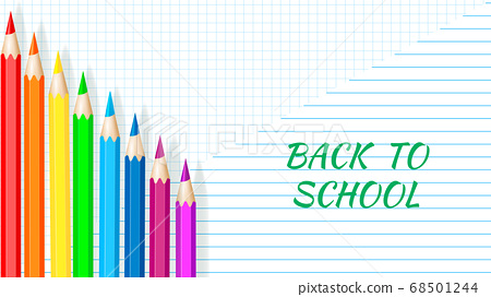 Back to School - Exercise book worksheet with colored pencils. Vector illustration 68501244