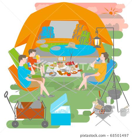 캠핑을하는 남성과 여성과 소년 68501497