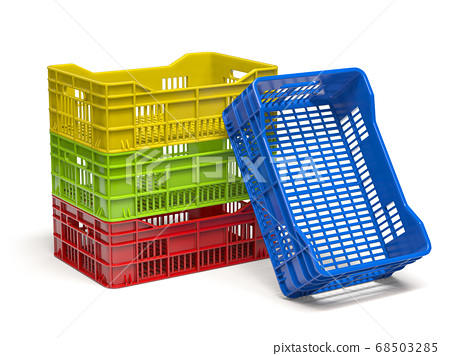 Stack of empty plastic crate or box for fruits and 68503285