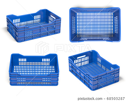 Empty plastic crate or box for fruits and 68503287