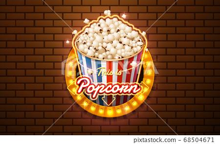 light sign popcorn brickwall background 68504671