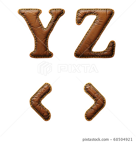 Set of leather letters Y, Z and symbol left, right angle bracket uppercase. 3D render font with skin texture isolated on white background. 68504921