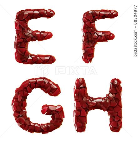 Plastic set E, F, G, H made of 3d render plastic shards red color. 68504977