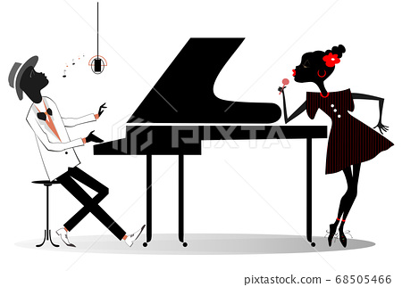 Couple African musicians, singer woman and pianist man isolated illustration. Expressive African duet of woman with a microphone and pianist man isolated on white illustration 68505466