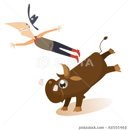 Man or cowboy falls from the bull illustration. Comic man or cowboy in Stetson hat falls from the bull isolated on white 68505468