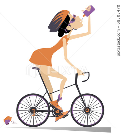 Cyclist rides a bike and drinks water isolated illustration. Cartoon cyclist woman in helmet rides a bike and drinks beverage isolated on white illustration 68505470