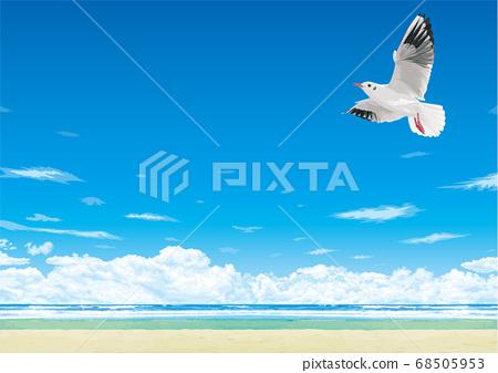 鳥兒飛翔在蔚藍的大海和藍天 68505953