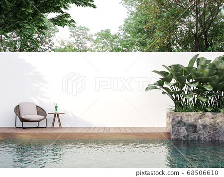 Modern style swimmimg pool terrace with blank wall for copy space 3d render 68506610