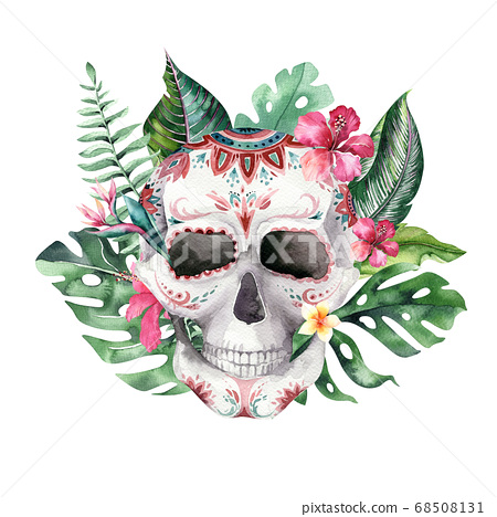 Human watercolor skull with floral tropical bouquets. Mexican Day of the dead. Tropic Head vintage helloween illustration. Retro tattoo death design retro drawing 68508131