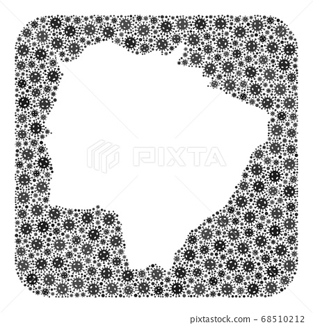 Map of Mato Grosso Do Sul State - Covid-2019 Virus Mosaic with Hole 68510212