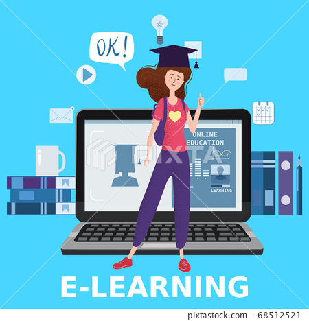 E-learning girl studying with computer and books, smile. The concept of online learning at home, online test, distance learning. Vector illustration isolated 68512521